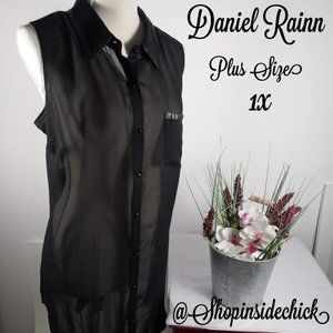 🍁$12 Daniel Rainn Plus Size Sheer Button Up 1X